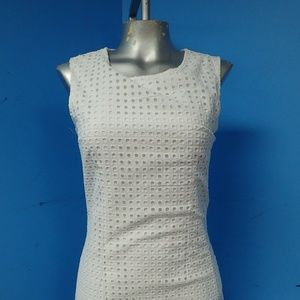 New Alfred Sung White Eyelet Cotton Mini Dress